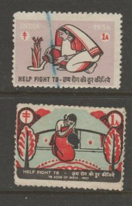 India Cinderella revenue Fiscal stamp 2-22  (one w/ hole punch)