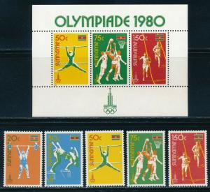 Suriname - Moscow Olympic Games MNH Sports Set (1980)