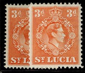 ST. LUCIA GVI SG133 + 133a, 3d PERF VARIEITES, M MINT.