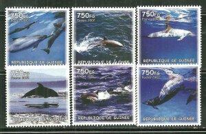 Guinea MNH Set Of 6 Dolphins Marine Life 2002