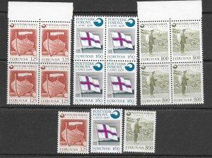 Faroe Is. 21-3 MNH cpl. set x 5,  f-vf 2022 CV $19.00