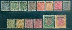 Burma #1-14  Used  Part Set  Scott $52.35