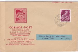 Liechtenstein 1952 cosmos post Schaan  stamps cover  R20516