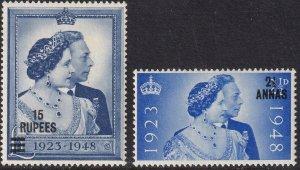 Sc# 25 / 26 Oman 1948 QE MNH Silver Wedding set CV: $41.00 Stk #2