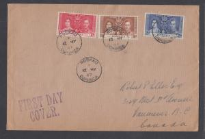 Dominica Sc 94-96 FDC. 1937 Coronation, cplt set on Selfridge & Co. cover