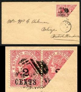 British Honduras SG27c Aikman envelope with 2c on 1d Pair one bisected