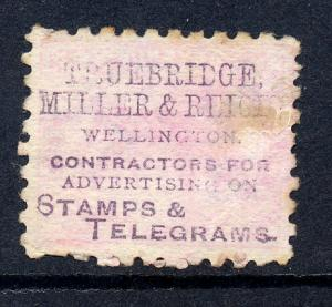 New Zealand 1882 sg 195 with advert in purple on reverse, fine used