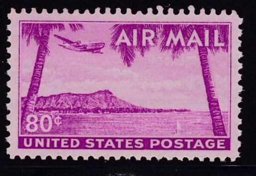 United States 1952 C46  80cent  Diamond Head, Honolulu, Hawaii  VF/NH(**)