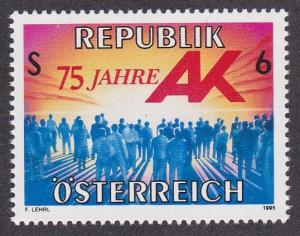 Austria # 1669, Representation for Workers 75th Anniversary, NH, 1/2 Cat.