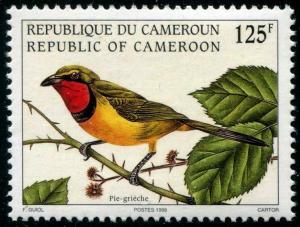 HERRICKSTAMP CAMEROUN Sc.# 926 1998 Shrike Bird Lanius 125f