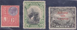 Malta - 1926-1928 Three Attractive Stamps F-VF #140, #142, #160