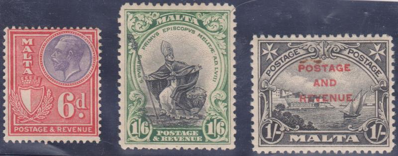 Malta - 1926-1928 Three Attractive Stamps F-VF #140, #142, #160