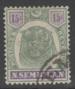 MALAYA NEGRI SEMBILAN SG11 1896 15c GREEN & VIOLET FINE USED