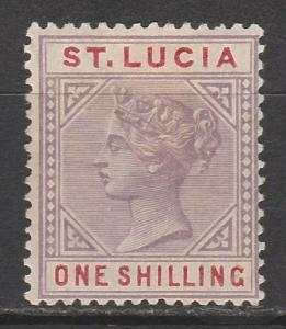 ST LUCIA 1886 QV 1/- DIE I WMK CROWN CA