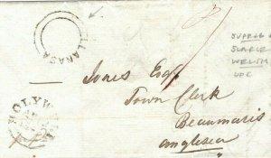 GB WALES Cover Flintshire *LLANASA* SCARCE UDC Beaumaris 1845 {samwells} PB47