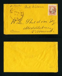 # 65 on cover from Poultney, Vermont to Middlebury, Vermont - 2-15-1860's