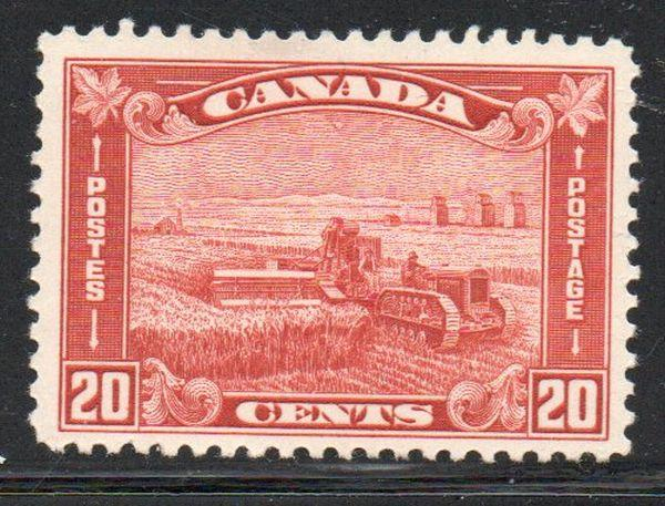 Canada Sc 175 1930 20c brown red Harvesting stamp mint