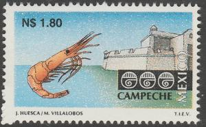MEXICO 1787 N$1.80 Tourism Campeche, shrimp, fortress. Mint, Never Hinged F-VF.