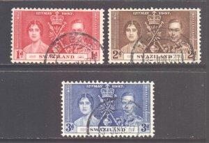 Swaziland Scott 24/26 - SG25/27, 1937 Coronation Set used