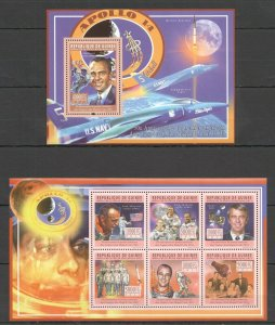 BC318 2011 GUINEA FIRST AMERICANS IN SPACE APOLLO 14 ALAN SHEPARD KB+BL MNH