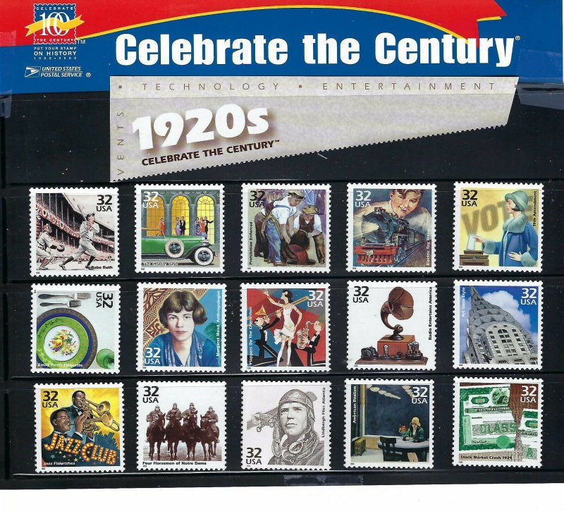 19120s (3184) Celebrate the Century Nice Clean Singles MNH