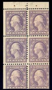 BOOKLET PANE - #501b 3c Washington....F og NH -- TYPE I - cv$125