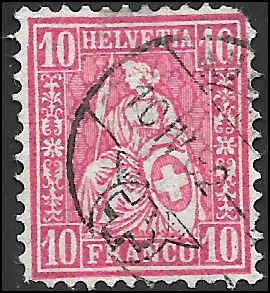 1881 SWITZERLAND  SC# 62 USED F PERF MISSING CV $11.00