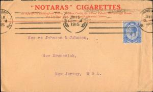 SOUTH AFRICA 1915 SINGLE TO UNITED STATES + CIGARETTE ADVERTISEMENT