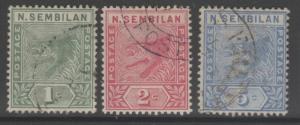 MALAYA NEGRI SEMBILAN SG2/4 1891-4 DEFINITIVE SET FINE USED