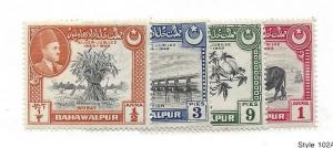 Pakistan (Bahawalpur), 22-25, Various Designs Singles,**LH**