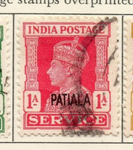 Patiala 1940-45 Early Issue Fine Used 1a. Optd Patiala Service 029242