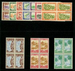 Cook Islands 1949 KGVI Pictorial set complete BLOCKS MNH. SG 150-159. Sc 131-140