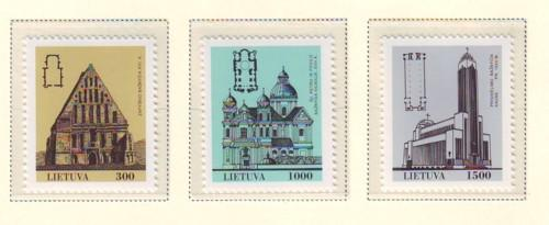 Lithuania Sc 437-9 1993 Churches stamp set mint NH