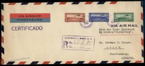 Guatemala 1936 Hindenburg Zeppelin Cover 90714
