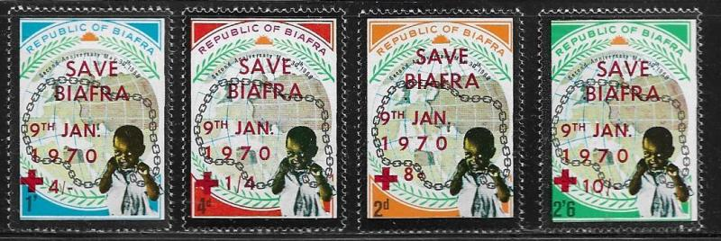 BIAFRA  22-25 MNH SAVE BIAFRA OVERPRINT ON STAMPS, 1970