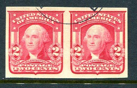 U.S. 320 TWO CENTS Used 1906 Type I Imperforate Pair. Really nice!