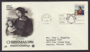 US Christmas Madonna 1986 PCS Typed FDC BIN