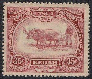 KEDAH 1922 PICTORIAL 35C WMK MULTI SCRIPT CA