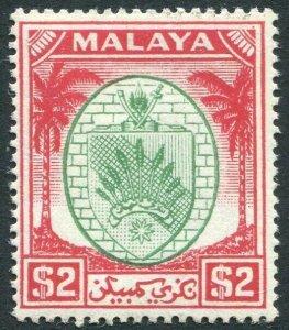 SELANGOR-1949-55 $2 Green & Scarlet Sg 61 MOUNTED MINT V33494