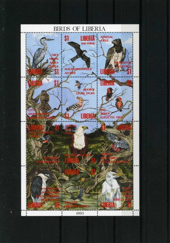 LIBERIA 1993 Sc#1161 FAUNA BIRDS SHEET OF 12 STAMPS MNH