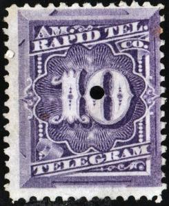 1T4 10¢ American Rapid Telegraph Company Stamp (1881) Remaindered/No Gum