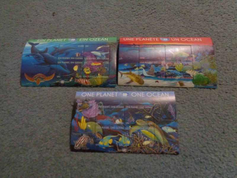 UNITED NATIONS ONE PLANET ONE OCEAN FULL SHEETS FROM ALL 3 OFFICES, MNH