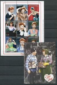 COMORO ISLANDS 1998 I LOVE LUCY - DESI - LUCILLE BALL SET AND SS - $20 VALUE!