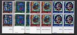Switzerland Sc B390-93 1970 Pro Patria stamp set mint NH Blocks of 4