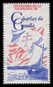 FRANCE 1990 CENTENARY OF THE BIRTH OF CHARLES DE GAULLE POSTER STAMP CINDERELLA