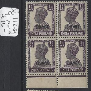 INDIA  CHAMBA  P1306B)  KGVI 1 1/2A  SG 112   BL OF 4    MNH