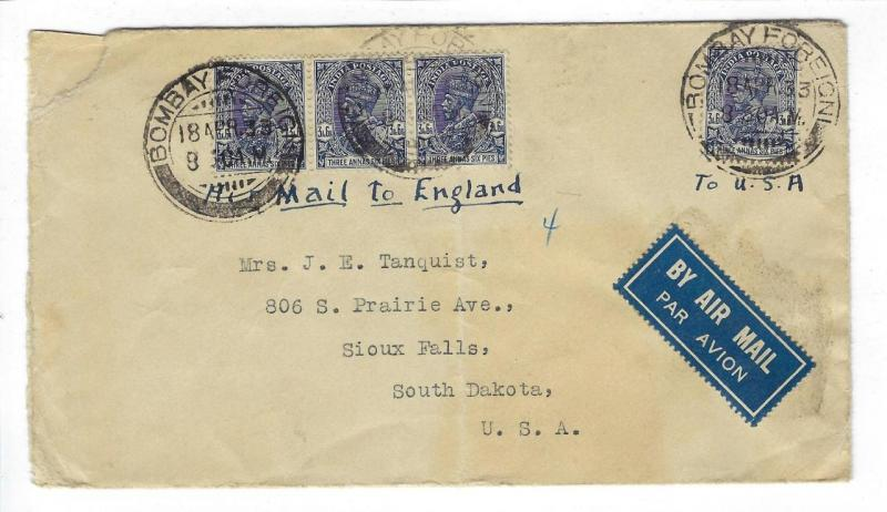 1933 India To Britain Early Airmail Cover (GG-73)