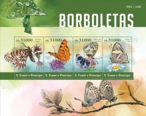 St Thomas - 2015 Butterflies on Stamps - 4 Stamp Sheet - ST15412a