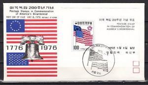South Korea, Scott cat. 1034a. Am. Bicentennial s/sheet. First day cover.