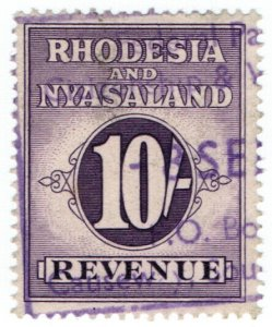 (I.B) Rhodesia & Nyasaland Revenue : Duty Stamp 10/-
